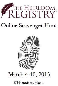 scavenger hunt, heirloom registry, houstory