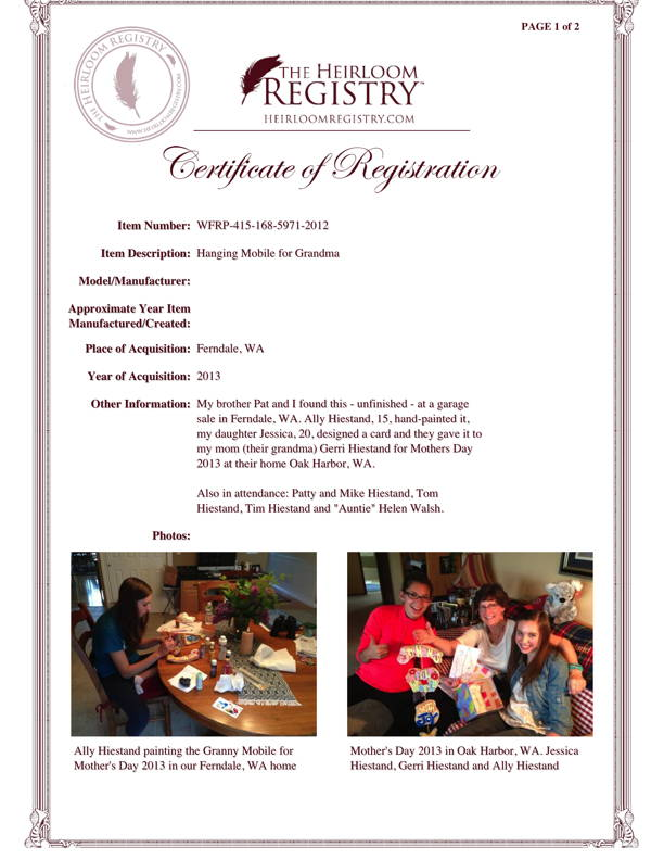 Registration Certificate from The Heirloom Registry