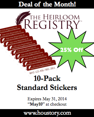 heirloom registry, houstory, may 2014 deals of the month