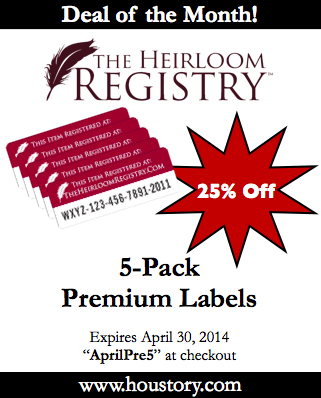 Heirloom Registry, Premium Labels, deal of month