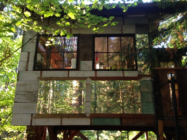 The back of the treehouse incorporates some old mirrors that Peter had collected to create a floating effect.